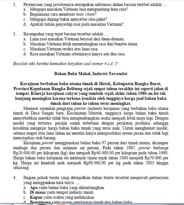 latihan soal ujian nasional smp mts paket b tahun 2013