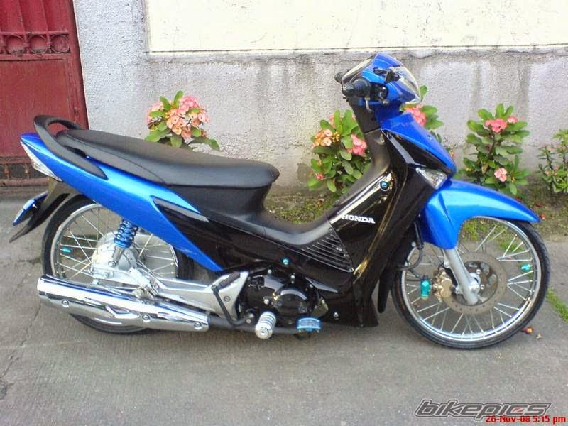 modifikasi motor supra x 125 biru