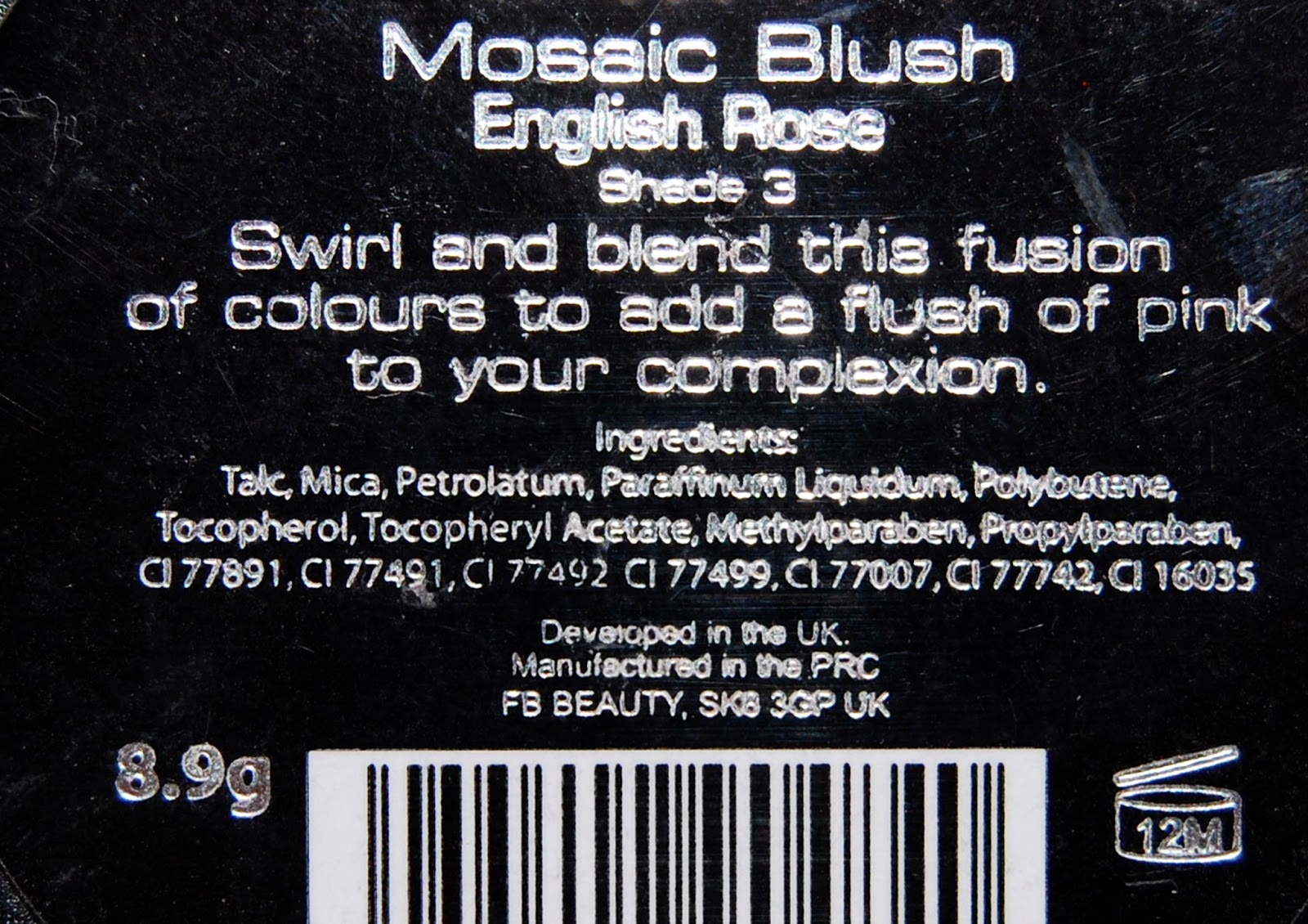 MUA Mosaic Blush English Rose, Shade 3 ingredients