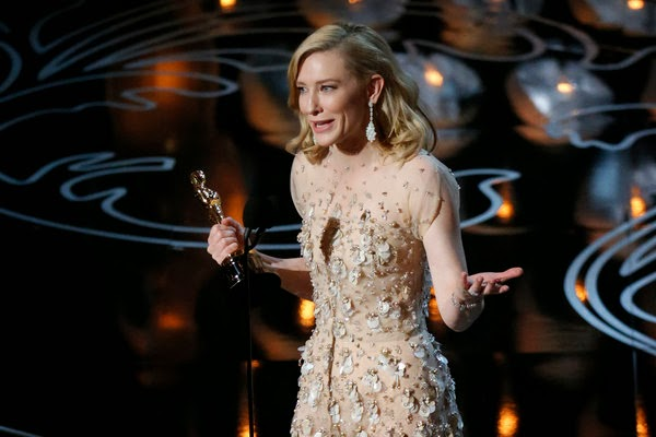 Cate Blanchett accepting the Best Actress Oscar