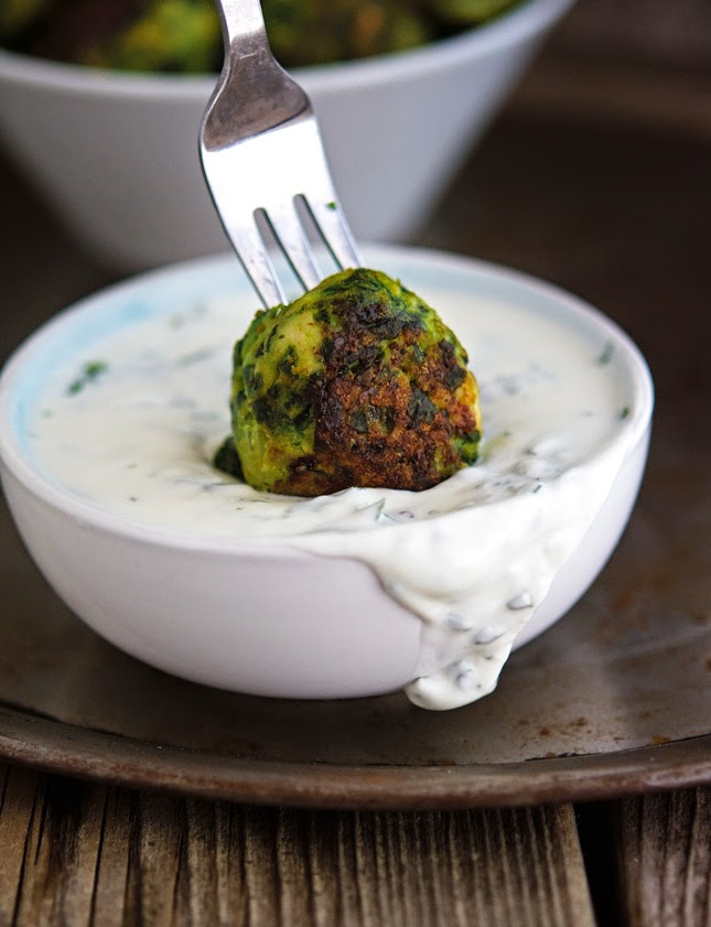 Chicken-Spinach Meatballs with Creamed Feta Paste
