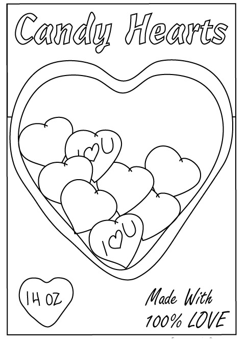 Valentine candy box coloring page valentine free engine for Candy heart coloring pages