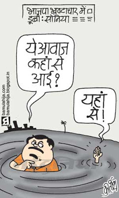 bjp cartoon, congress cartoon, corruption cartoon, corruption in india, sonia gandhi cartoon, nitin gadkari cartoon, indian political cartoon
