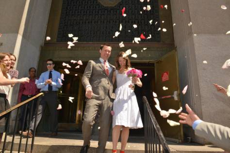 Throwing flowers at the Bride and Groom - City Hall Wedding