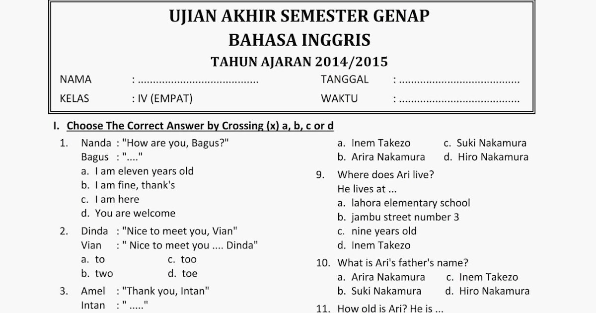Soal Uas Ukk Bahasa Inggris Kelas 4 Semester 2 Tahun 2015 Baru Rief Awa Blog Download