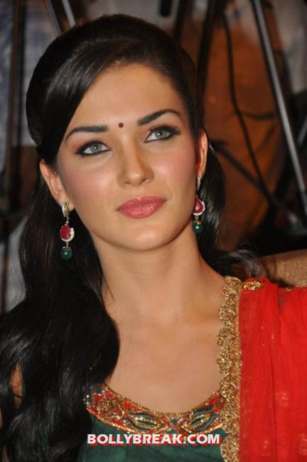 Amy jackson close up  - (5) -  Amy Jackson in a red and green suit