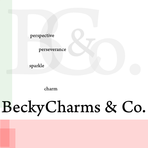 BeckyCharms & Co. Faded Logo Graphic Design Sample Example