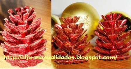 Aljumanualidades pi a decorada con purpurina roja - Pinas decoradas para navidad ...