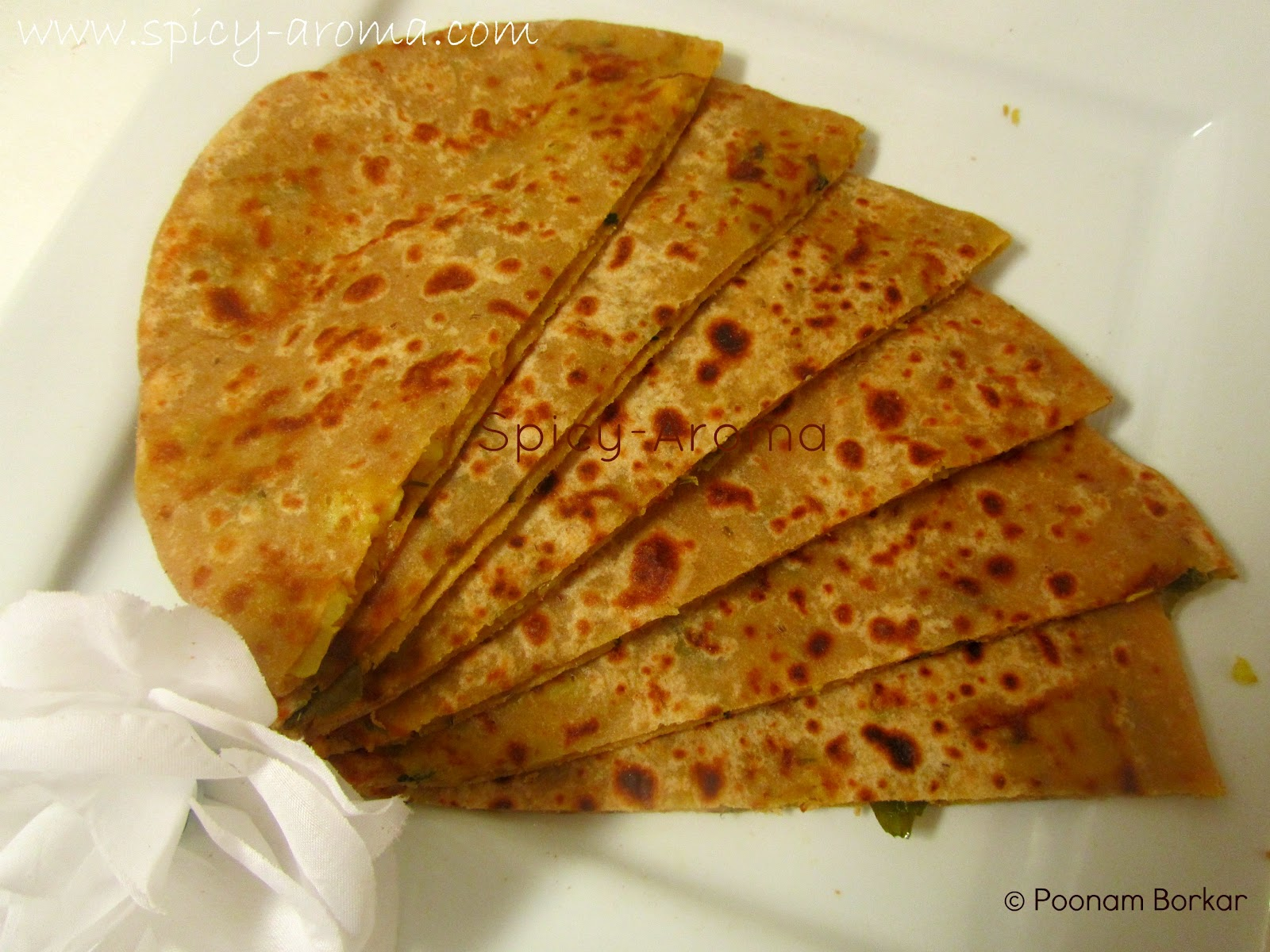 griddle cooked flatbread mixed flour root vegetables paratha flatbread ...