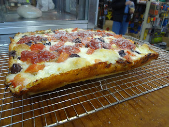 Detroit Style Pizza with Feta and Kalamata Olives and other dressings