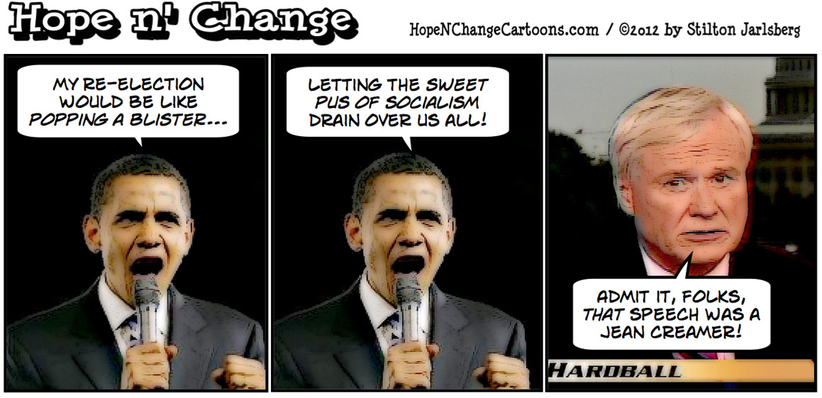Obama says his reelection would be like popping a blister, hopenchange, hope and change, hope n' change, stilton jarlsberg, obama jokes, tea party, conservative