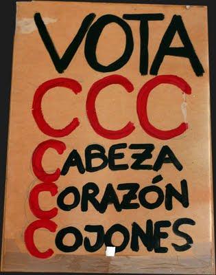 spanishrevolution, 15M, SOL, vota ccc cabeza corazón cojones