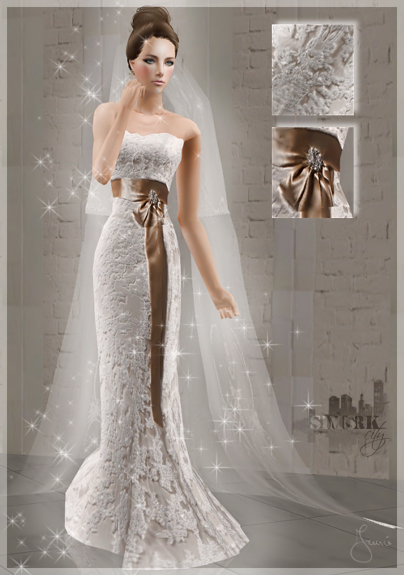 Sims york city 72 wedding dress with gold bow