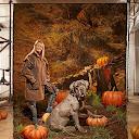 Julie Tottman, la entrenadora de animales, con el perro Monkey, quien interpretó a Fang