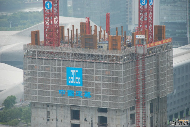 Photo of currently top constructed floors of The Chow Tai Fook Skyscraper, Guangzhou, China