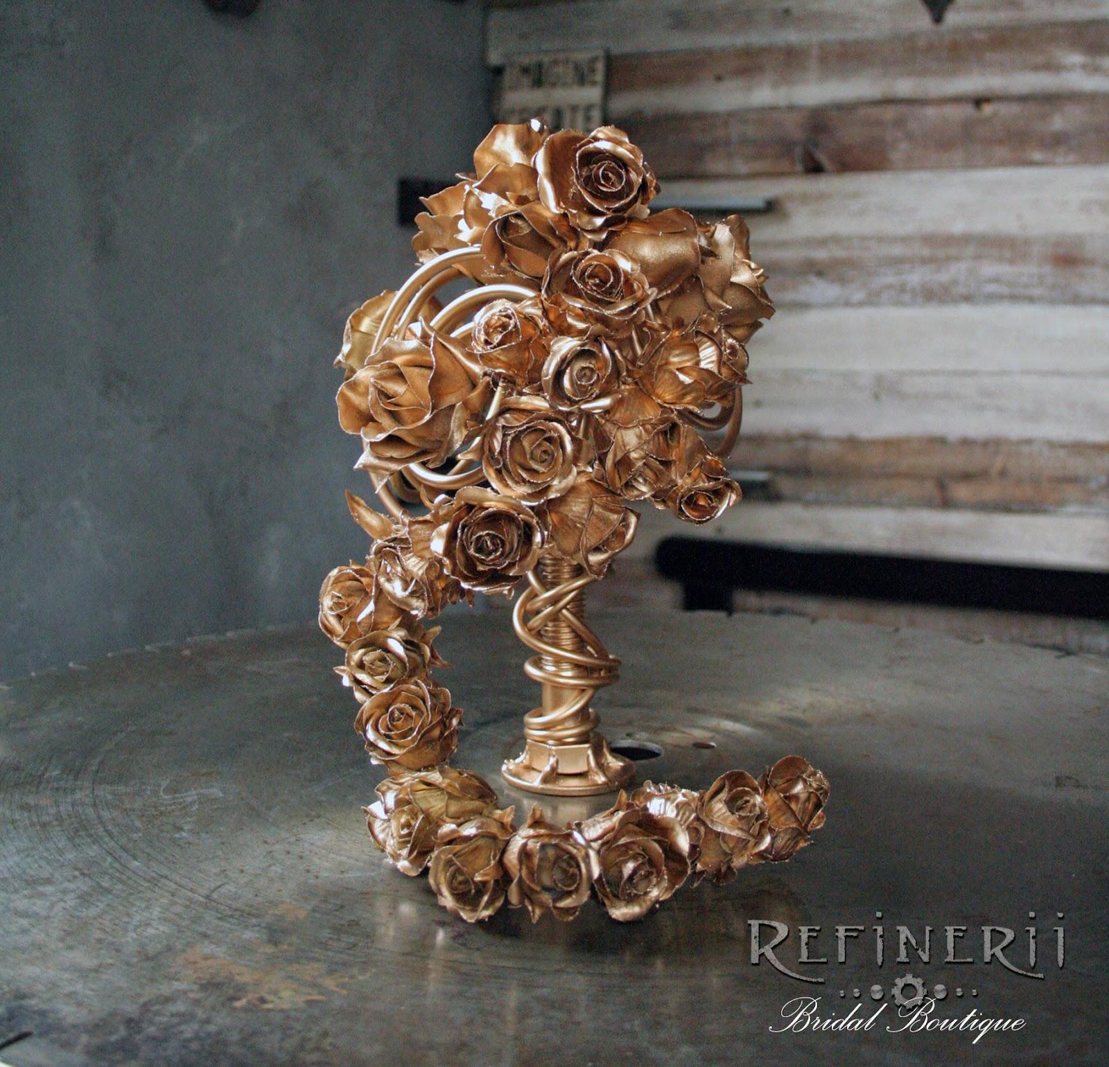 alternative bouquet unique gold roses metal perpetual flowers offbeat bride