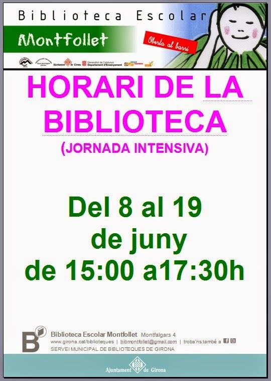 NOU HORARI BIBLIOTECA MONTFOLLET