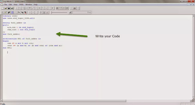 LogicWorks write your vhdl code