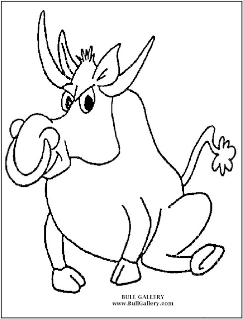 Cartoon Bull Coloring Page
