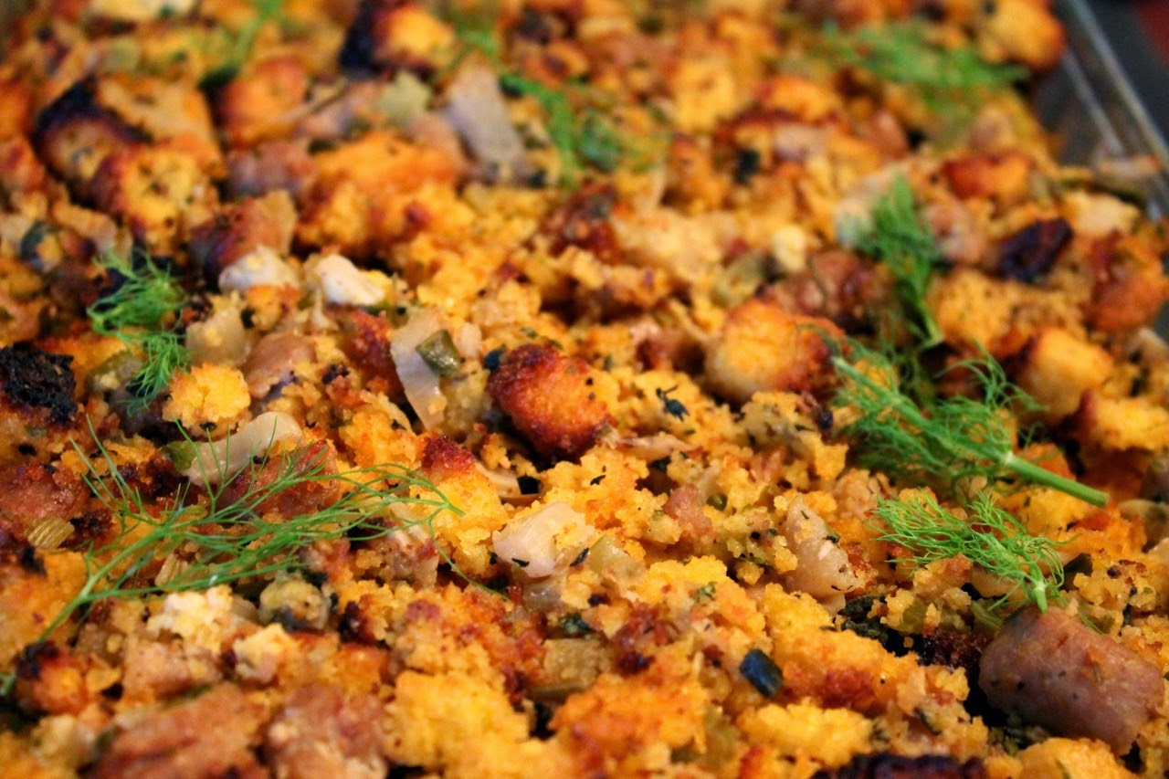 Cook In / Dine Out: Cornbread Stuffing with Sausage and Fennel
