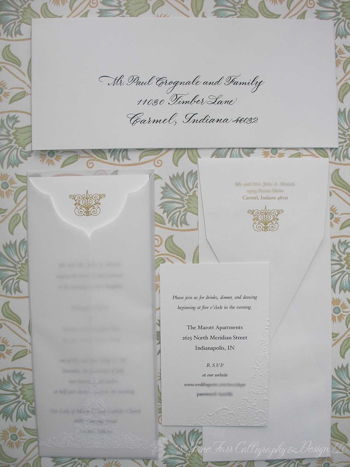 Wedding Calligraphy by Jane Farr Vera Wang Embossed Wedding Invitations