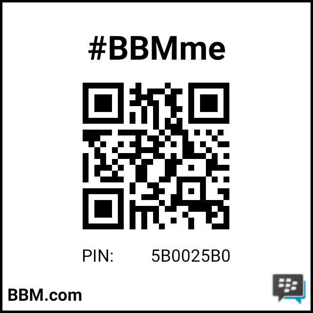 Invite by barcode scan BBM Pin : 5B0025B0