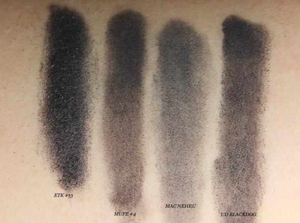 giorgio armani eyes to kill 13 black swatches comparison nehru mufe 4 dupes eyeshadow