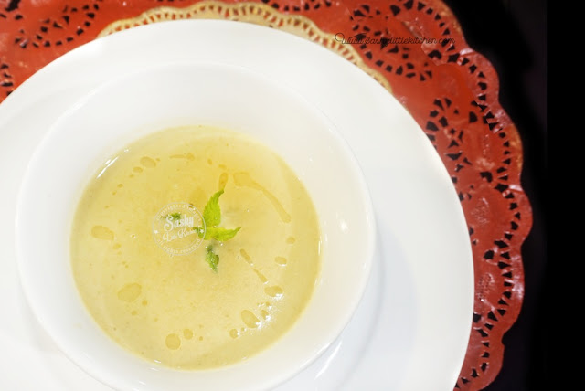 apple and celery potage with beurre noisettes prawn with pine nut
