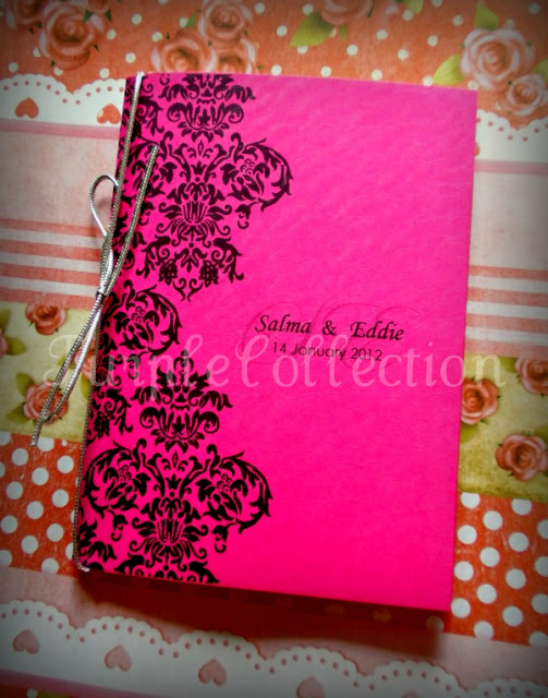 Damask Wedding Invitation Card, wedding invitation cards, malay wedding cards, damask shocking pink card, damask white card