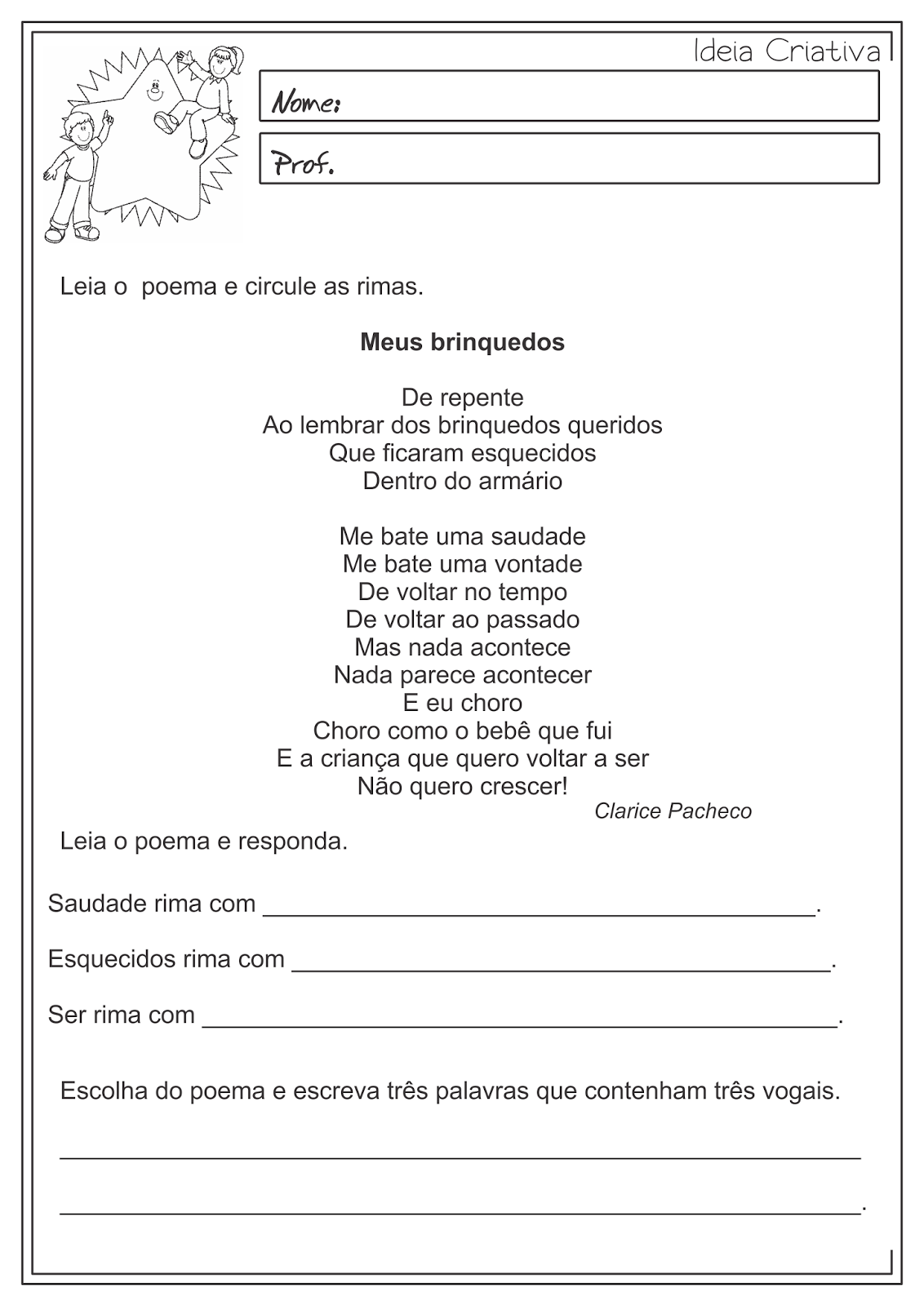 Atividades educativas Rimas Língua Portuguesa para ensino fundamental