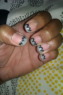 Gray, black, scalloped tips, nail art, mani