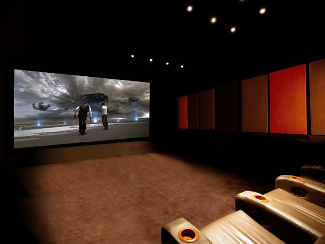 Dark modern home theater