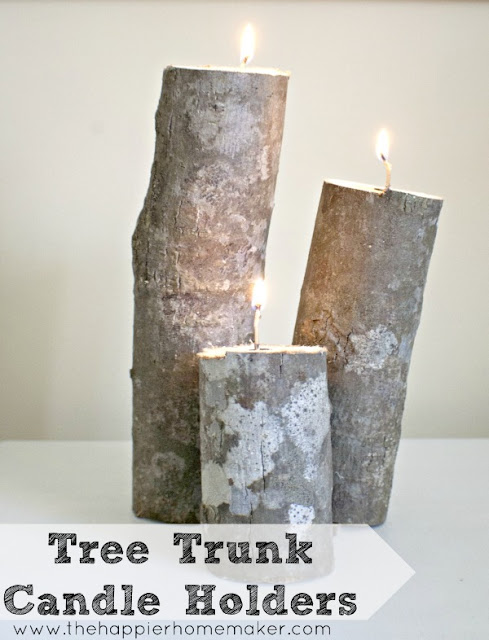 Tree trunk candle holders, by The Happier Homemaker featured on Funky Junk Interiors