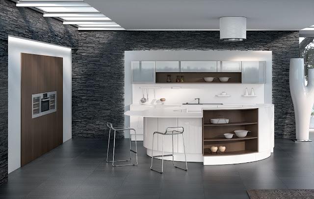 Cuisine design blanche et bois avec îlot arrondi. Mur en schiste noir . Cuisine aménagée Pérène.