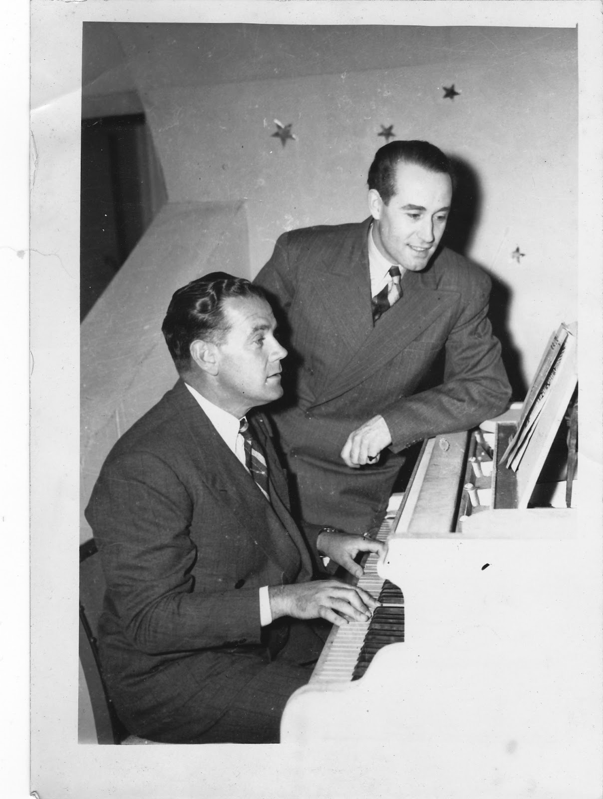 Jack Burgess at the piano with Max Oldaker.