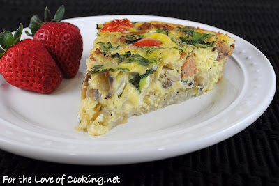 Jalapeño Chicken Sausage, Mushroom, Smoked Black Pepper White Cheddar, and Tomato Potato Crusted Quiche