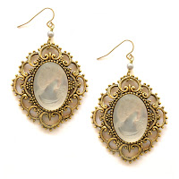 Cameo Statement Gold Earrings by Sophia and Chloe