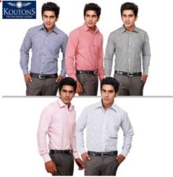 Koutons Pack Of 5 Assorted Color Cotton Formal Shirts at Rs. 799 only