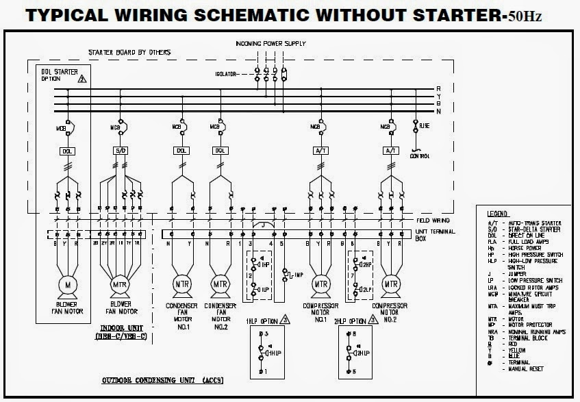 Electrical wiring diagrams for air conditioning systems part two you can find in below some examples for wiring diagrams for split packaged units with different starting methods in fig27 sciox Images