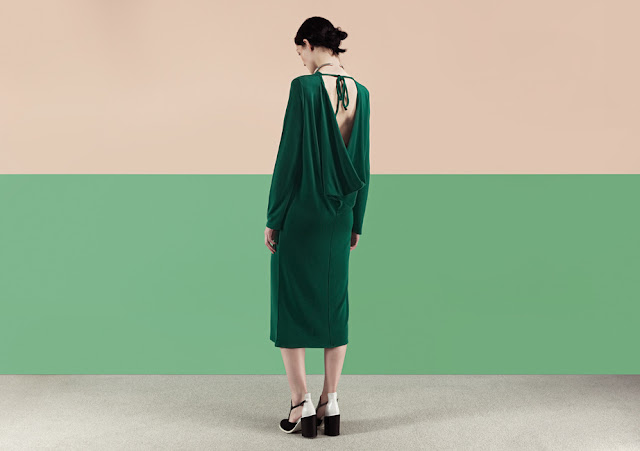 green slouch back dress, green low back dress,