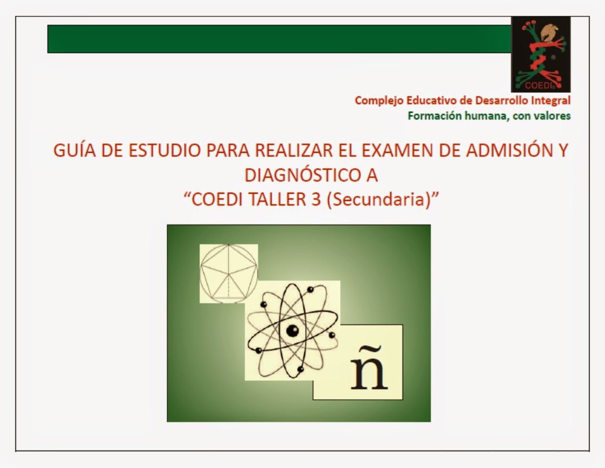 Guía de estudios COEDI para examen de admisión a secundaria (taller 3)