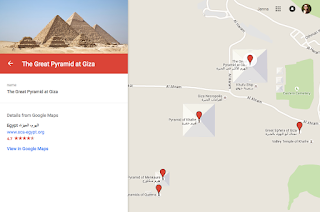 A google maps screen that is zoomed in on the Great Pyramids at Giza. There are mutiple red pinpoints on the map, indicating many pyramids.