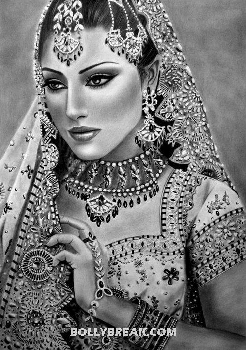 Bollywood Actress Drawing Black 7 White - Bollywood Actress Drawing