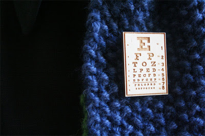 Twice Designs eye chart brooch