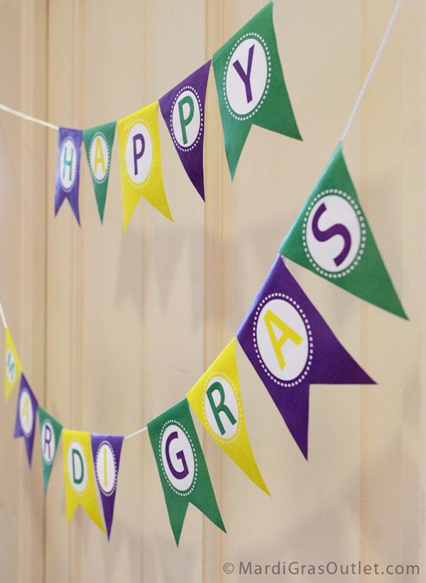 Free Printable, Mardi Gras Garland, Pennant, Banner, Mardi Gras Decorations