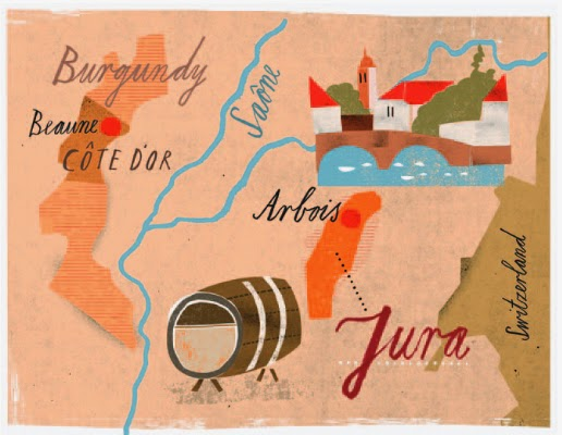 Map illustration showing wine region in France