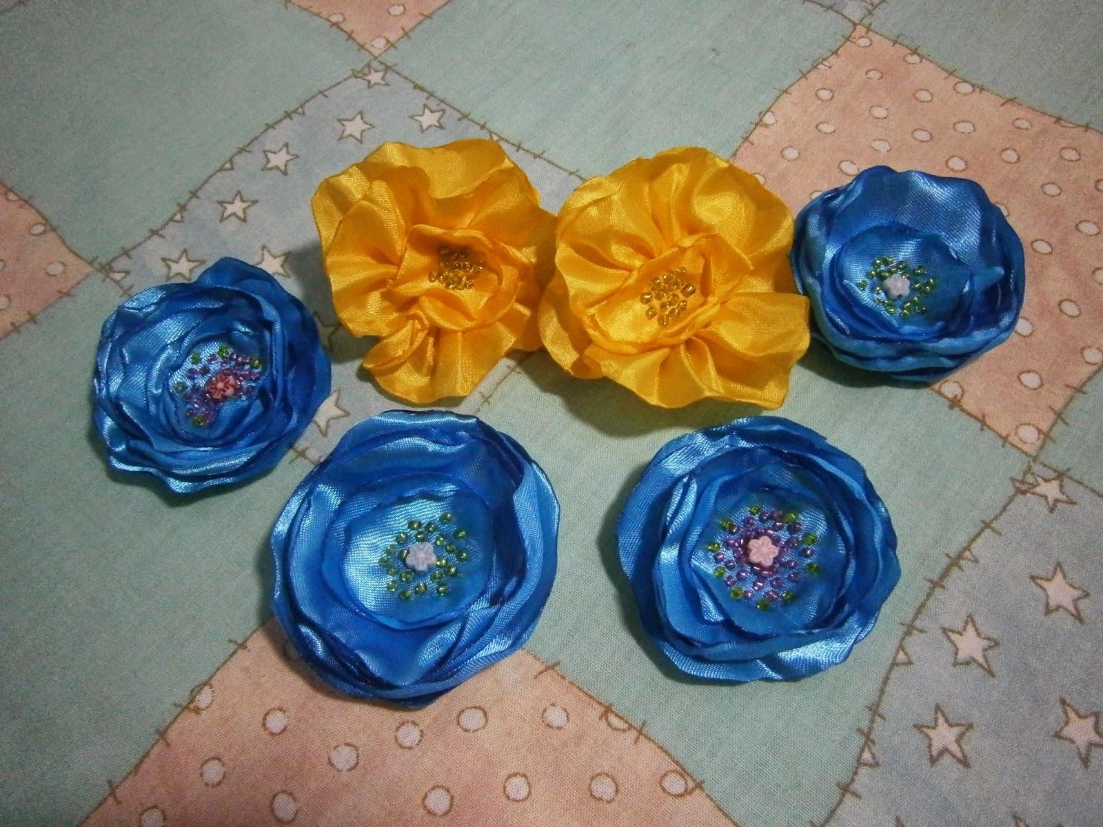 цветы из ткани  украшение для волос
