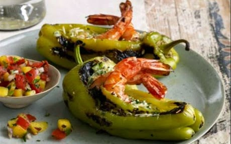 πιπεριές με γαρίδες