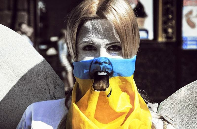 silent scream mask | symbol for ukraine's call for independence