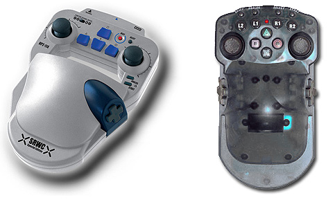 One Handed Controllers: A HORI Super Robot Wars silver controller and DragonPlus like One Handed Controller.